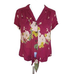 Maeve Maroon Floral Short Sleeve Button Front Top